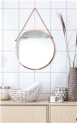 Round Copper Mirror With Hanging Chain - mirrors House Doctor, Mirrors With Chains, Copper Mirror, Nordic Living, Vintage Mirrors, Home Wall Art, Bathroom Inspiration, Hanging Chair, Interior Styling