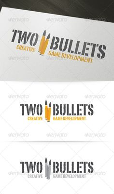 Two Bullets Logo Template #vector #logo #logodesign #psd #ai #eps #game #shooter #graphicdesign #design #logotype #brand #gun #bullets #shooting #corporateidentity