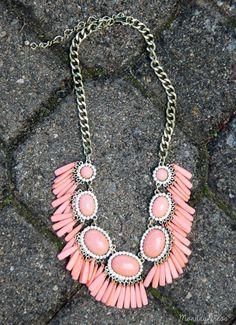 Coral Get Your Shine On Tassel Fringe Statement Necklace