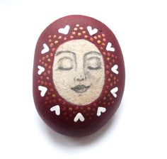 Hand painted art stone/paperweight. by Ludibund on Etsy, £10.00