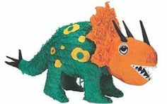 Triceratops Pinata by Shindigz. $12.99. Pull string kit included. 19 inches. This party Triceratops Dinosaur Pinata can hold candy at your party. Each Dinosaur Pinata is 19 inches tall x 10 inches long Pull-String Kit is included.
