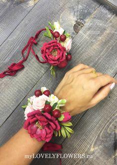 Купить Браслет вишневый из полимерной глины - браслет с цветами, цветы ручной работы, свадебные аксессуары