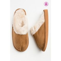 Tan suede slip on slippers Fur Trim, Latest Fashion For Women, Slippers, Footwear, Slip On, Clothes For Women, Shopping, Shoes, Outerwear Women