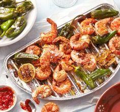 Gegrillte Garnelen mit Pimientos vom Grill Tapas, Kung Pao Chicken, Shrimp, Grilling, Bbq, Meat, Ethnic Recipes, Desserts, Food