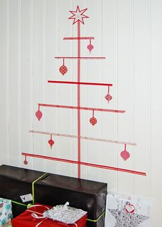 Washi tape Christmas tree - alternative to putting up a tree this year bc of the kids and kitties.