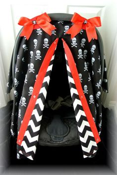 Baby Accessories car seat canopy car seat cover chevron skulls by JaydenandOl. Carters Baby Boys, Baby Kids, Baby Baby, Gothic Baby, Emo, Rockabilly Baby, Punk Baby, Baby Rocker, Cool Baby Stuff