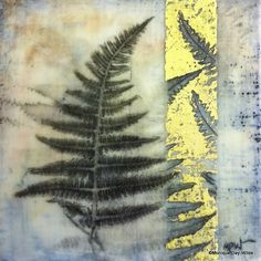 Fern- encaustic mixed media by Monique Day-Wilde
