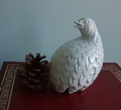 Vintage Wedding Decor - White Quail Vintage Ceramic Figurine Small Partridge Bird