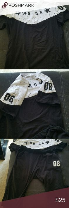 "Black and white short sleeve and capri set Cute ""Hood 08"" short sleeve shirt with black ""08"" capri pants. Never worn, just removed tags when I got them. Size Large, cotton blend (reasonable offers accepted) off brand  Tops Tees - Short Sleeve"