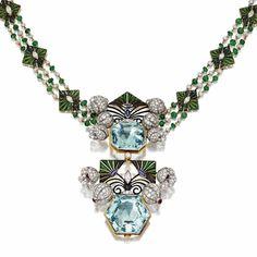 AQUAMARINE, DIAMOND AND ENAMEL PENDANT-NECKLACE
