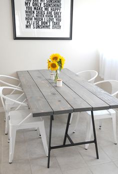 Add 2 by 8 boards to LERBERG trestle legs to create this wonderfully handsome dining table.