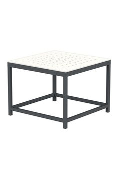 Parsons White Marble Top Dark Steel Base 36x36 Square