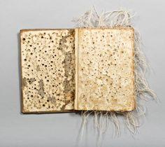 Skeptic's Ritual by Lisa Kokin. Altered book, thread, PVA glue, 12 x 12 x 1.25 inches, 2009