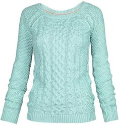 Fat Face Campbell Cable Crew Neck Jumper , Frost Green