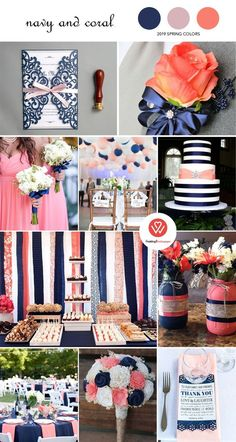 Top 8 Amazing Wedding Color Combos to Steal in Spring 2019 Top 8 Amazing Wedding. Top 8 Amazing We Plum Wedding Colors, Navy Blue Wedding Cakes, Vintage Wedding Colors, Blue Wedding Flowers, Spring Wedding Flowers, Purple Wedding, Coral Navy Weddings, Ribbon Wedding, Spring Weddings