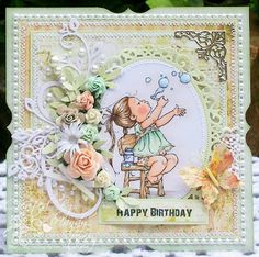 A Sprinkling of Glitter: I'm Forever Blowing Bubbles - Addicted To Stamps DT Card Penny Black Cards, Penny Black Stamps, Kids Cards, Baby Cards, Card Making Inspiration, Making Ideas, Whimsy Stamps, Digi Stamps, Mo Manning