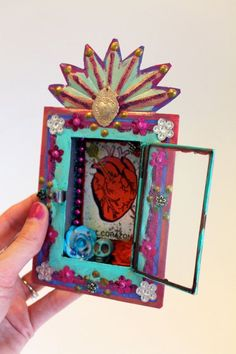 nichos to house remembrances of those close to my heart anatomical heart meditate altar Mexican Crafts, Mexican Folk Art, Architecture Art Design, Tin Art, Assemblage Art, Sacred Heart, Heart Art, Religious Art, Altered Art