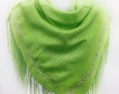 Lime Green fringe scarf, Gift for Coworker, Mothers Gift for Mom, Green Piano Shawl, Beach Cover up Neon Green Shawl Outdoor wedding Scarves by blingscarves. Explore more products on http://blingscarves.etsy.com