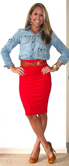 Love the red pencil skirt paired with denim shirt. Wearing it Thursday night with leopard print pumps. Thanks, @J's Everyday Fashion