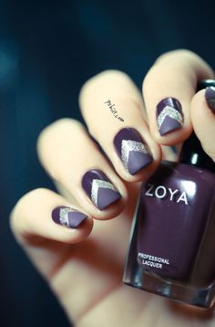 Purple base + chevron Essie Beyond Cozy + Matte on the tips (also looks beautiful without the matte)...x
