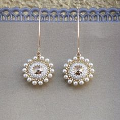 Dangle Pearl bridal Earrings, Unique Handmade beaded with swarovski elements, Miyuky beads and goldfilled