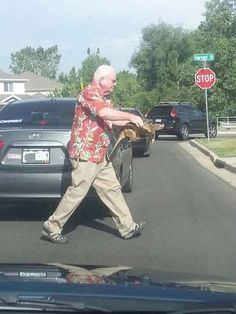 This man helping a turtle cross the street: