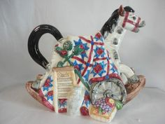 1996 FITZ & FLOYD Rocking Horse Tea Pot Pitcher No Lid In Great Shape