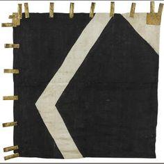 A black and white silk battle standard Edo period (17th century)
