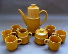 Vintage Style House Stoneware Coffee  Tea Pot &  6 by chriscre, $38.00