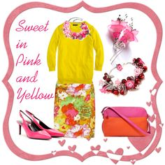 """""""Sweet in Pink and Yellow"""" by deneet on Polyvore"""