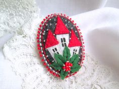Christmas Tiny House. Felt Brooch.Oval Brooch.Beaded Brooch.Miniature House Felt Brooch. Textile Jewelry. Unusual gift.Сountry House Pin. by SvitLoShop on Etsy
