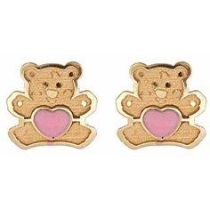 14K Gold Pink Heart Teddy Bear Screw Back Child Earrings from www.thejewelryvine.com