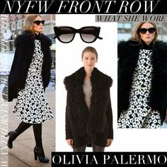Olivia Palermo in flower print black and white belted dress with black boots and black fur shearling cardigan
