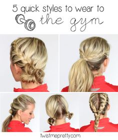 5 quick hairstyles that are perfect to wear to the gym, to exercise outside in the nice weather, or to wear for a race this summer!  Come checkout the tutorials over at Twist Me Pretty.