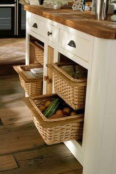 Good idea for keeping vegetables - Drawer-Line Wicker Basket Base Units Lined Wicker Baskets, Wicker Basket Drawers, Wicker Shelf, Wicker Table, Wicker Furniture, Wicker Dresser, Wicker Couch, Wicker Trunk, Wicker Bedroom