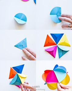 Vía Original hecha una bola de flores de origami tan simple! Plegables #diy