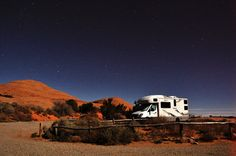 Navion Motorhome, long nighttime exposure with a bright moon, Arches National Park, November 22, 2010 (pinned by haw-creek.com)