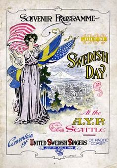 Swedish Day in Seattle vintage poster from HistoryLink.org- the Free Online Encyclopedia of Washington State History
