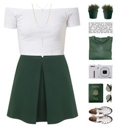 """""""Marella"""" by chelseapetrillo ❤ liked on Polyvore featuring Alexander McQueen, Royce Leather, Ray-Ban, chissene, Muuto, Comme des Garçons, Nikon, Forever 21, white and GREEN"""