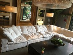 """This is our first choice for the sectional sofa. Restoration Hardware sofa. The SOFTEST ever. Cloud L sectional. $8870. 177"""" W- 132 1/2"""" D - 311/2"""" H"""