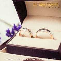 Argollas de oro blanco y rosado de 18 kts   www.elbrillantejoyeria.com.co