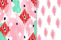 Watercolor Ikat Papers & Brushes by Colors on Paper on Creative Market