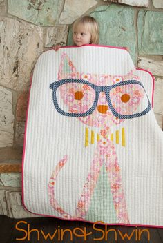 Free quilt pattern for hipster kitty by Schwin & Schwin