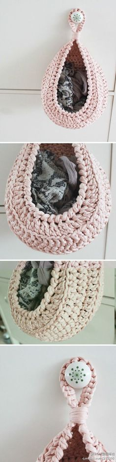 "Cute idea for storing small items. Found pattern. Norwegian site but seems pretty simple. See Pin in ""Crochet For The Home"" board:"
