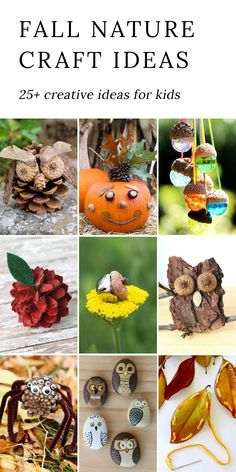 Fall Nature Craft Ideas for Kids - From falling leaves to acorns, nature provides a bounty of free materials perfect for fall nature crafts.  via @https://www.pinterest.com/fireflymudpie/