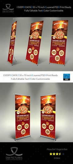 Pizza Restaurant Signage Roll Up Template Vol2  — PSD Template #banner •…