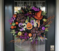 Spooky Pumpkin Light-Up Halloween Wreath  by ATwistDivine on Etsy