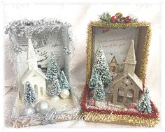 Shabby and so chic Christmas dioramas/shadow boxes by Rosechicfriends on Etsy Vintage Christmas Crafts, Christmas Card Crafts, Victorian Christmas, Vintage Crafts, Christmas Art, Winter Christmas, Handmade Christmas, Holiday Crafts, Christmas Decorations
