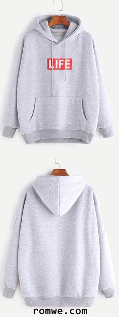 Pale Grey Letter Print Drop Shoulder Hooded Pocket Sweatshirt