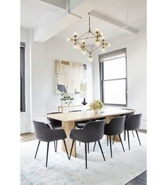 Stunning interior design by Tina Rich at Karlie Kloss office in New York City features Moe's Home furniture. Table Design, Dining Room Design, Dining Area, Dining Chairs, Small Dining, Room Chairs, Kitchen Design, Architectural Digest, Mid Century Design